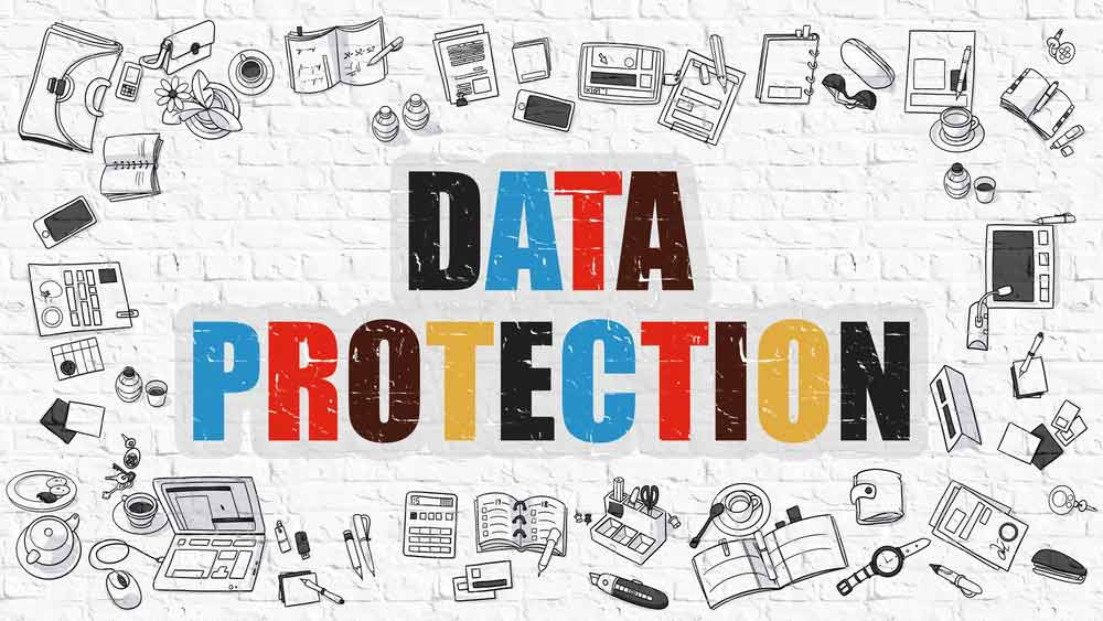 Data Protection Concept. Modern Line Style Illustration. Multicolor Data Protection Drawn On White Brick Wall. Doodle Icons. Doodle Design Style Of Data Protection Concept